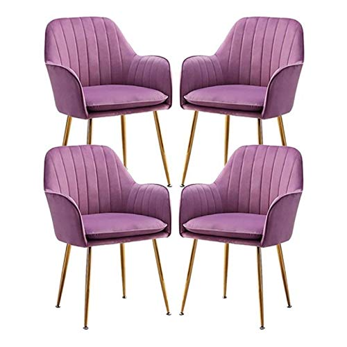 Set of 4 Velvet Dining Chair Metal Legs Armchair with Upholstered Soft Seat & Backrest for Kitchen Lounge Bedroom Living Room Accent Tub (Color : Violet)