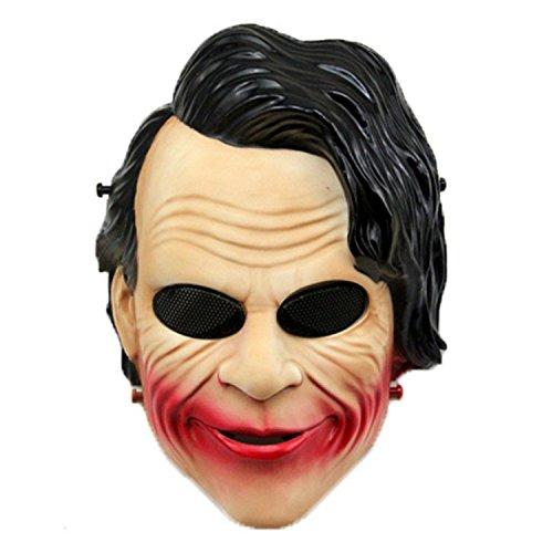 haoYK Tactical Softair Paintball Full Face Schutz Joker Clown Maske für Halloween Cosplay CS Krieg Spiel Film Prop Masquerade Party, Black Hair