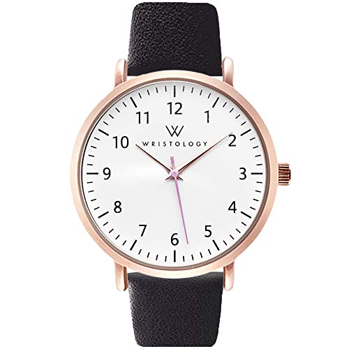 WRISTOLOGY Olivia Rose Gold Womens Watch - for Nurses Large Face Analog Easy to Read Numbers with Second Hand Black Leather Band