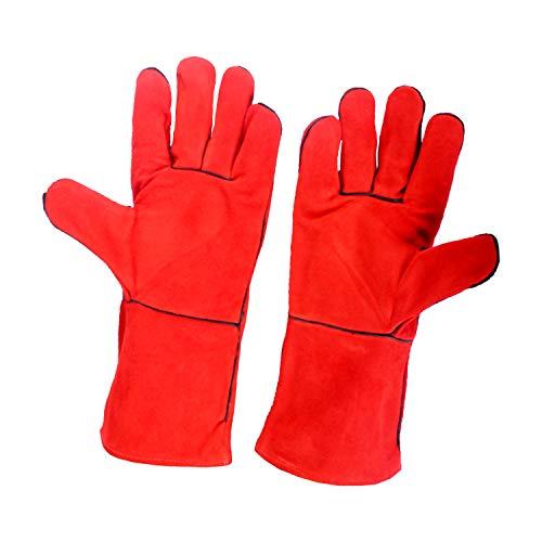 Mannen Lassen Echt Leer Handschoenen Werk Veiligheid Gauntlets Hittebestendige Steken
