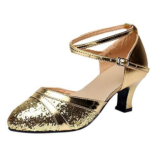 TIFIY Damen Tanzschuhe Damen Standard Tango Latin Salsa Tanzschuhe Pailletten Schuhe Social Dance Schuh Party Tanzen Ballsaal Latin Tanzschuhe Gold 40