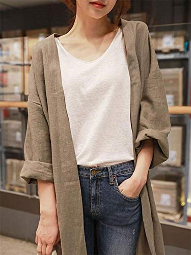 『XIEBAIJIU アウター 秋 ロング丈 春 長袖 シンプル ロング 無地 ファッション S ~ XL レディース (カーキ, S)』の3枚目の画像