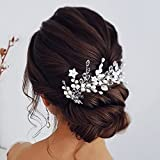 Vakkery Diadema de novia con perlas plateadas, accesorio para el pelo de novia, accesorio para el pelo de novia para mujeres y niñas