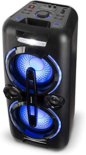 PA Party Audiosystem, mobiler Bluetooth Lautsprecher, 2 x 8'' Subwoofer, 2x50W RMS, Akku, USB-Port, MP3, AUX, UKW, LED-Lichteffekt, LCD-Display, Mikrofon