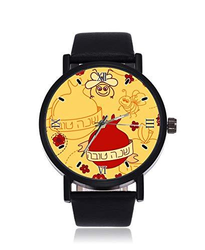 Rosh Hashanah Reloj de Pulsera analógico de Cuarzo con Correa de Acero Negro para Mujeres y Hombres