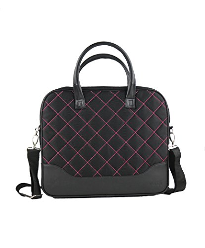 Laptop Bag for Women - Pink and Black - Stylish Fashion Ladies Messenger Bags for 15.6 inches Laptop