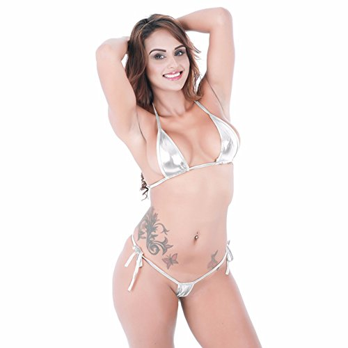iEFiEL Bikini Hot Damen Micro Wetlook Mini Bikini Set Metallic Glanz Mini Mikro BH Unterwäsche Dessous Reizwäsche Silber One Size