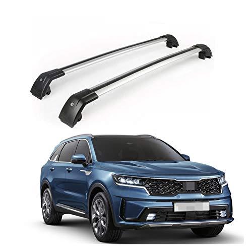 XIAOZHIWEN Barras transversales de automóviles Cross Barras con Llave Techo Tapa Tapa Tapa Tapa de Equipaje Carteles de Carga para KIA Sorento 2020 2021 (Color : Silver)