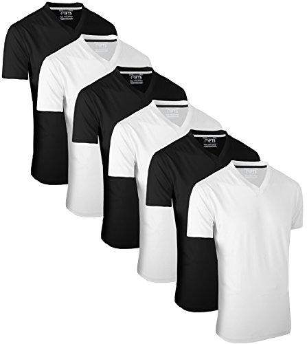 FULL TIME SPORTS 6 Pack Weiß Schwarz T-Shirts mit V-Ausschnitt (3) Large