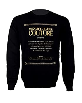 Versace Jeans Couture Warranty Logo Print Sweat Top in Black