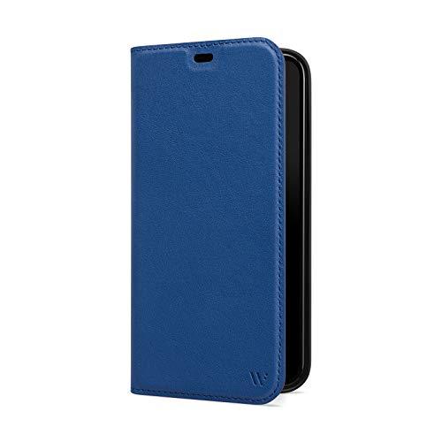 WIIUKA Hülle für iPhone 12 Mini, Lederhülle, Deutsches Premium Leder, mit Kartenfach, extra Dünn, Handyhülle mit Standfunktion, Tasche Blau