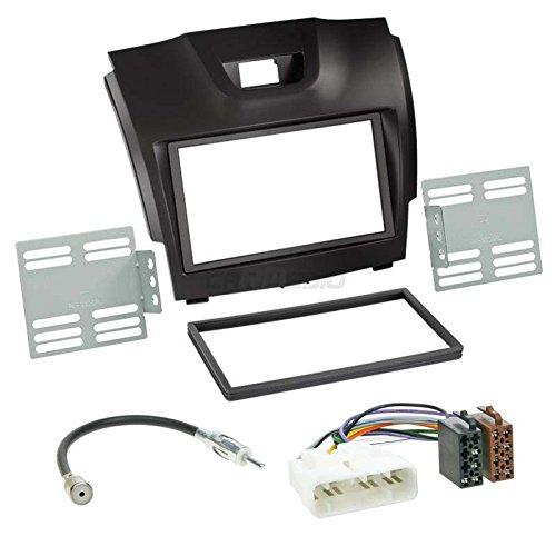 Carmedio Isuzu D-Max ab 12 2-DIN Autoradio Einbauset in original Plug&Play Qualität mit Antennenadapter Radioanschlusskabel Zubehör und Radioblende Einbaurahmen schwarz