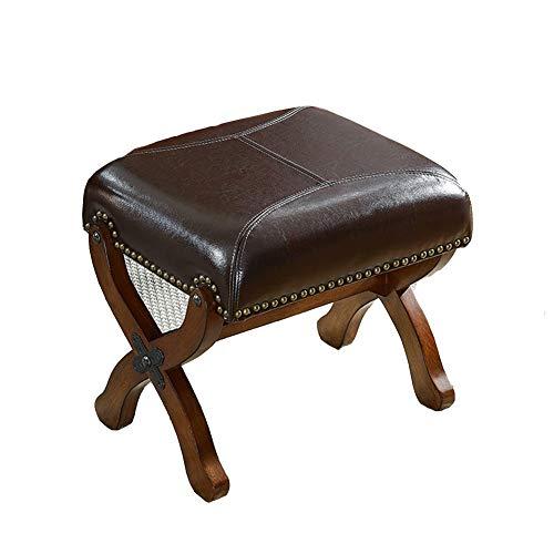 Ledersofa Pedal Massivholz Ottoman Schlafzimmer Garderobe Hocker ändern Schuh Bench ZHAOFENGE- (Color : Brown)