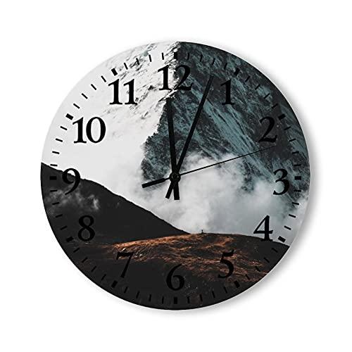 Reloj de pared de madera, rústico, funciona con pilas, vintage, 12 pulgadas, mar de nubes en la montaña, relojes decorativos de madera para paredes, granja para dormitorio, baño, sala de estar