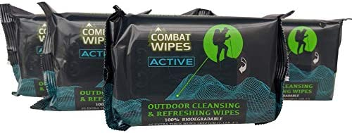 Combat Wipes ACTIVE Outdoor Wet Wipes Extra Thick Ultralight Biodegradable Body Hand Cleansing product image