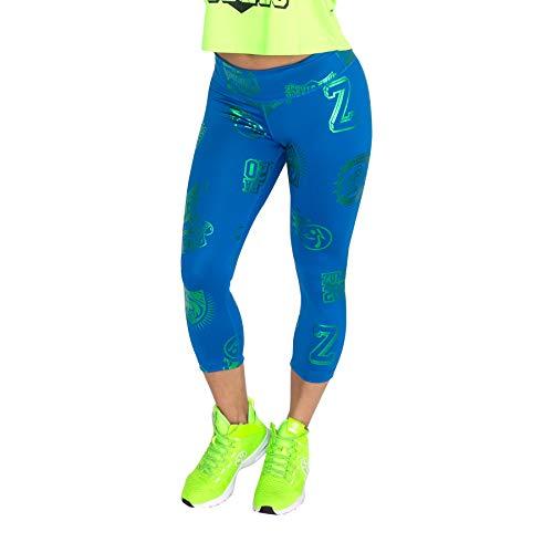 Zumba Métallique Compression de Fitness Pantalon Femmes Faire Des Exercices Sport Elastiques Imprimé Capri Legging Leggings, Jersey Blue 1, S para Mujer