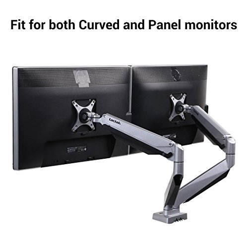 Loctek D7DR Dual Monitor Mount Fits for Both Curved and Panel 24-34 inches Monitors, Gas Spring Monitor Arm Supports 8.8-22 lbs,Desk Top Mounts LCD Arm
