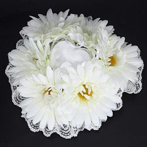 KUIDAMOS Cuscino per FEDI Nuziali, Romantico Nastro di Pizzo Cuscino per FEDI Nuziali Creativo Cuscino per FEDI Nuziali Regalo per Anniversario Regalo per Compleanno(White)