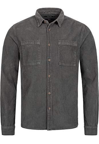 Indicode Herren Fulham Cordhemd mit 2 Brust-Taschen aus 100% Baumwolle - Cord   Regular Fit Langarm Hemd Herrenhemd Baumwollhemd Markenhemd langärmlig Freizeithemd für Männer Raven XL