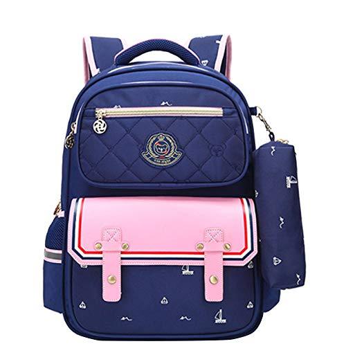 ZHXUANXUAN BAAFG basisschool schooltas meisjes rugzak 6-12 jaar oude grote capaciteit school schooltas, donkerblauw-OneSize