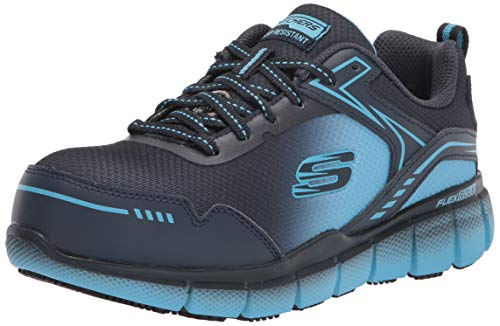 Skechers Women's Lace up Athletic Safety Toe Construction Shoe, Navy/Blue, 8.5