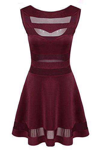 Zeagoo Damen Sexy Hohe Taille Partykleid Cocktailkleid Sommerkleid Bodycon MiniKleid mit Mesh Clubwear A-Linie Kleid L Weinrot