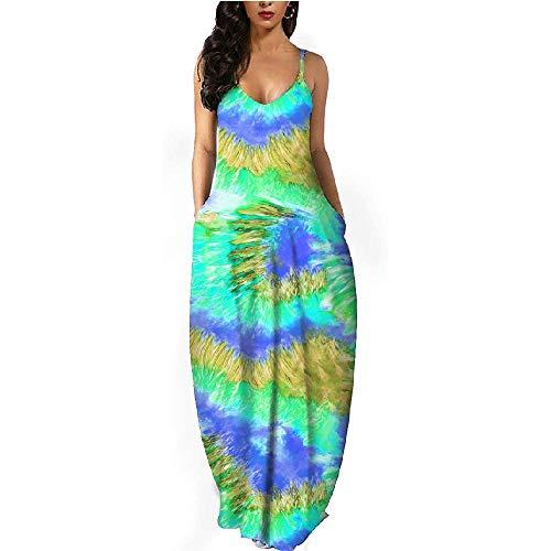 N\P Primavera Verano Vestido de Mujer Casual Gradiente Rayas Profundo V-Cuello Impreso Bolsillos Sin Mangas Sling Vestidos Largos Mujeres