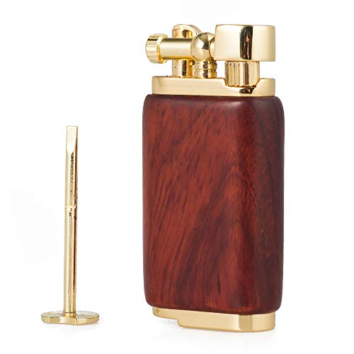 Antique Style Lift Arm Tobacco Pipe Cigarette Butane Lighter with Tamper & Pick (Rosewood)