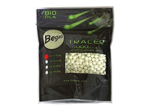 BEGADI 1.000 Airsoft/Softair Bio Tracer BBS 6mm 0,20g, Toleranzen: 5,95mm +/- 0,01mm -grün-