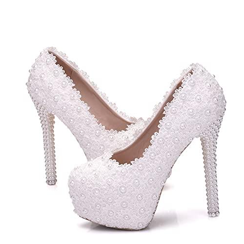 Zapatos De Novia para Mujer, Zapatos De Boda con Cabeza Redonda De...