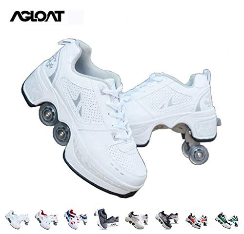Roller Skates for Girls/Women,Shoes with Wheels for Adults,2-in-1 Parkour Shoes/Inline Roller Skating Shoes,Double-Row Quad Roller Skates Outdoor Sports Kick Rollershoes,Weiß-38