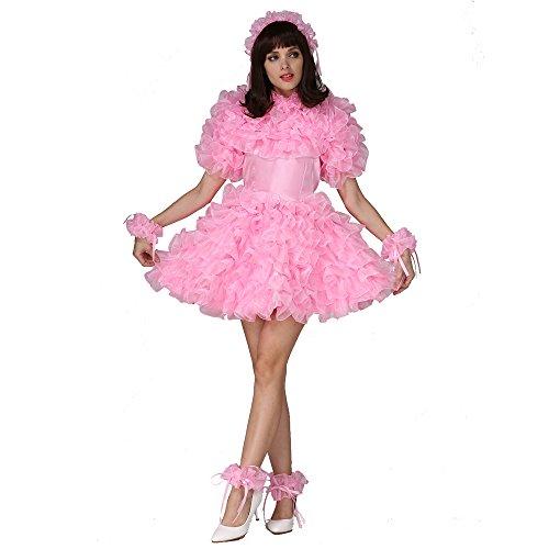 GOceBaby maßgeschneiderte Sissi Auch Rosa Satin Organza Puffy Kleid Einheitliche Kostüm (L)