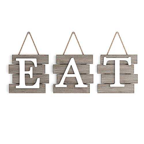 """Barnyard Designs Eat Sign Wall Decor, Rustic Farmhouse Decoration for Kitchen and Home, Decorative Hanging Wooden Letters, Country Wall Art, Distressed Brown and White, 24"""" x 8"""""""