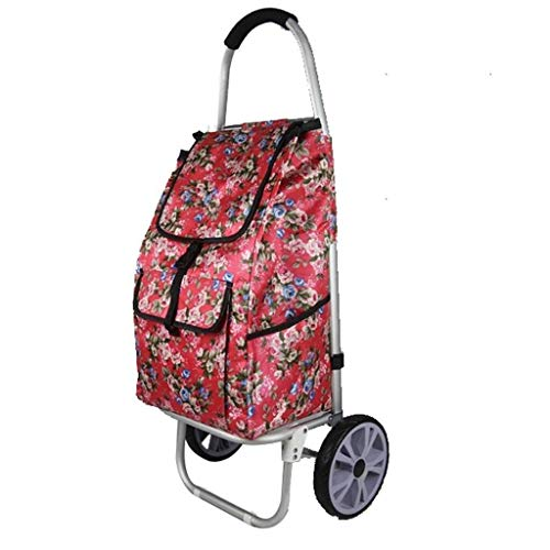 GUONING-L Shopping Shopping Cart, Small Cart, Portable Trolley, Folding Trolley, Aluminum Alloy Lever, Foldable.Size: 44 * 34 * 101CM. Trolley