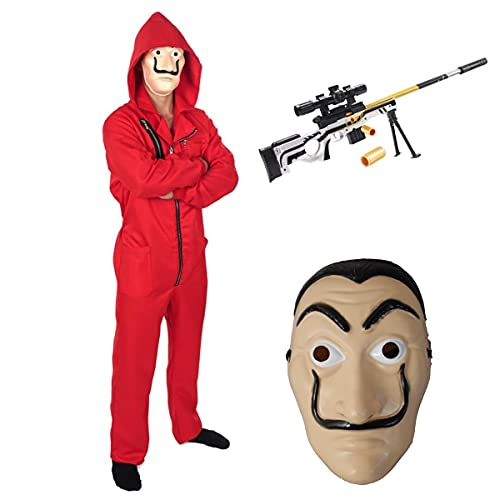 Disfraces de Halloween, trajes de mono para ladrones de bancos de adultos y nios, trajes de mono para ladrones de carnaval, mscaras de juego de roles y disfraces de carnaval para ametralladoras