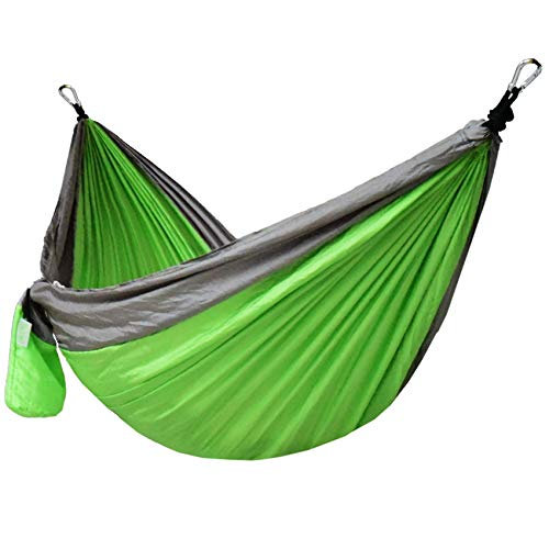 Lazy Daze Hammocks Double Parachute Nylon Hammock with Hammock Straps Set, Lightweight Portable Hammock for Camping, Backpacking, Pool, Green&Gray