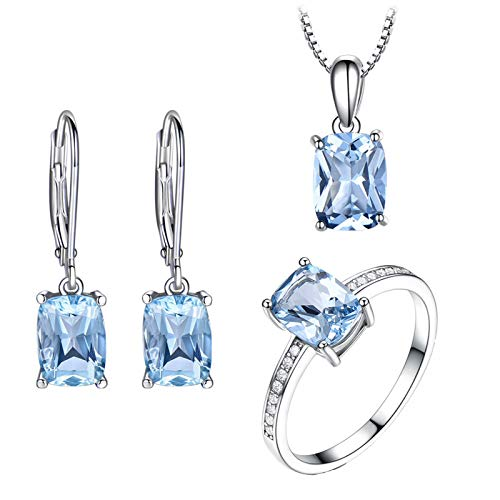 KnBoB Damen Schmuckset Elegant Silber 925 Rechteck Zirkonia Blau Ohrringe Halskette und Ring Set Größe 57 (18.1)