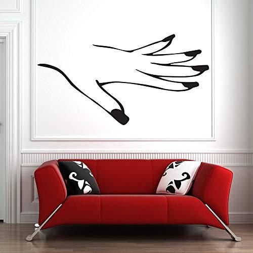 Pegatinas de pared salón de belleza calcomanías de ventana decoración salón de uñas polaco pegatinas de vinilo de mano patrón pegatinas de pared dormitorio de niñas arte