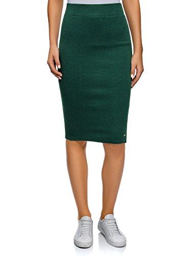 oodji Ultra Mujer Falda Midi de Punto, Verde, ES 34 / XXS