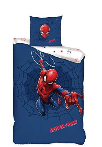 Familando Juego de ropa de cama reversible de Spiderman · 135 x 200 80 x 80 · 100% algodón · Ropa de cama infantil para niñas y niños (azul, rojo y blanco)