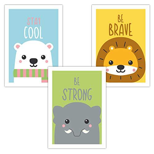 Goldschatz® Kinderzimmer Poster für Jungen und Mädchen 3er-Set DIN A4 Bilder | Kinderposter als Deko für Kinderzimmer | Tiere mit coolen Sprüchen für Kinder (Eisbär, Löwe, Elefant)