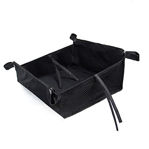 Borsa portaoggetti per passeggino Casa universale Cestino inferiore Accessori per passeggino per bambini da esterno Accessori per stoffa Oxford di grande capacità Shopping con corde(nero)