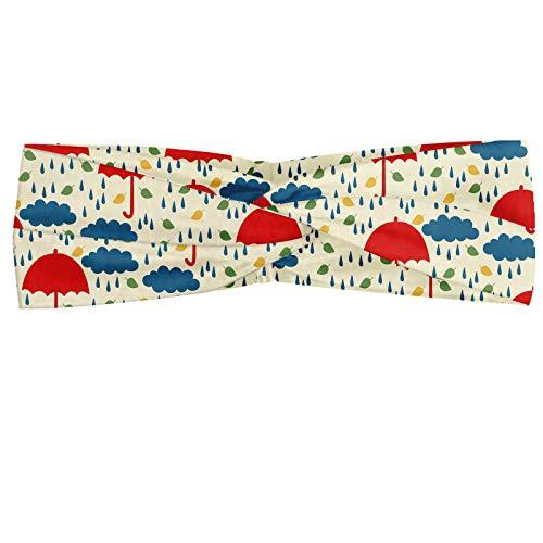 ABAKUHAUS Diadame Lluvia, Banda Elástica y Suave para Mujer para Deportes y Uso Diario Infantil otoño con las hojas Gotas de nubes y los paraguas, crema Multicolor