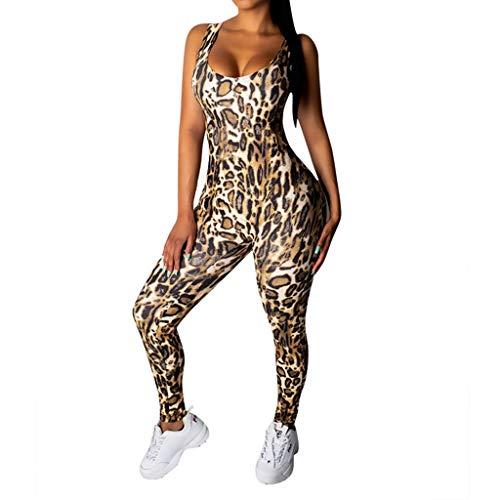 Luckycat Mono Yoga Mujer Peto Tirantes Sin Espalda con Bolsillos Body sin Mangas para Mujer Diseño Estampado De Leopardo Sexy Mujer Body sin Mangas