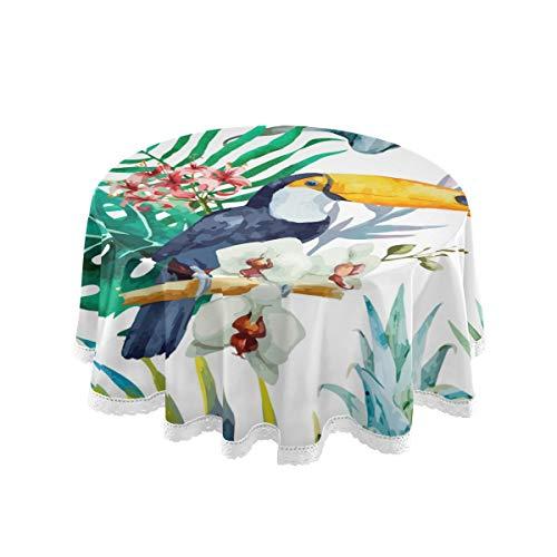 LUPINZ Tischdecke mit tropischem Blumenmuster, Tukan und Palmblättern