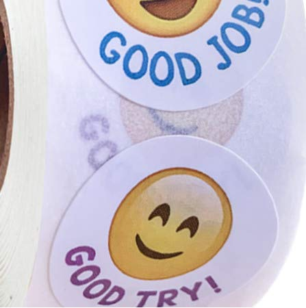 Cartoon Smiley Face Sticker For Kids Toys Decoration Teacher Reward Sticker For Children Words Good Job Good Try 500Pcs/Roll