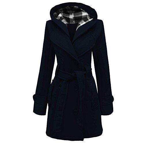 Cappotto da donna con cappuccio, chiusura con bottoni e cintura, taglie: dalla 40 alla 52 Navy blue 40