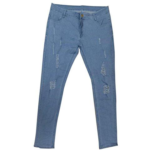 Paolian Un Trou Blanc ajusté pour Hommes, des Pieds Fins, Un Jean Slim, Un Must-Have (XL, Bleu Clair)