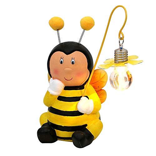 Gartenfigur Biene aus Keramik mit LED Licht Dekobiene Gartendeko Gartendekofigur Terrassenfigur Balkonfigur LED-Figur