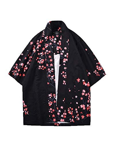 Hombre Chal Flojo Cárdigan Kimono Florales, Manga 3/4 Tops Blusa como Imagen XL